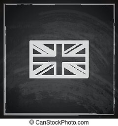 illustration of british union jack flag with chalkboard texture