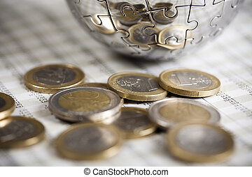 Euro coins - Photography of financial rating, money as a...