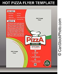hot pizza flyer template vector illustration