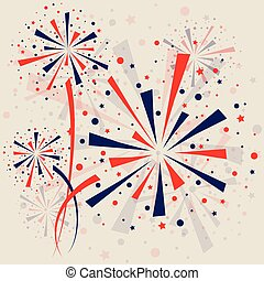 Firework background - Big red and blue fireworks on white...