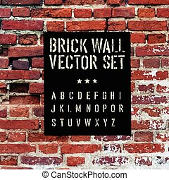 Brick traced texture, stencil alphabet and grunge rectangle....