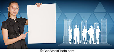 Businesswoman holding empty paper sheet, spatial layouts of...