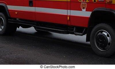 Fire Brigade Truck Slowly Passing - A special fire brigade...