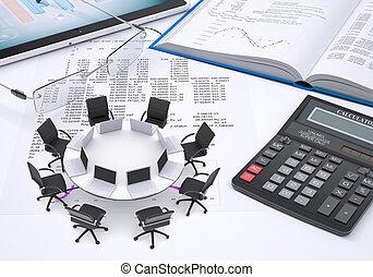 computadoras portátiles, tableta, anteojos, calculadora, libro, colocado, papel, figuras, tabla,  PC, redondo, Columnas