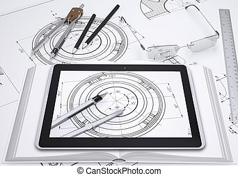 Tablet pc, some draftsmans instruments and technical drawing...