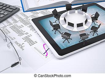 libro, calculadora, tabla, tableta, anteojos, redondo,  II, papel,  PC, figuras, Columnas