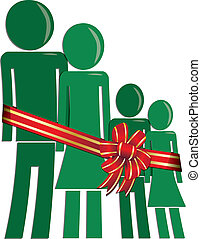 Christmas family in need - green man woman and children...