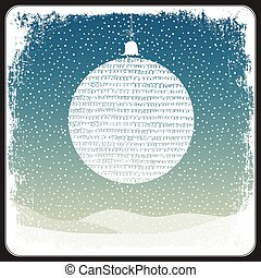 Merry Christmas Ball Greeting Retro Card. Vector
