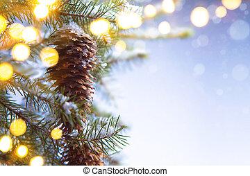 Christmas tree and holiday lights