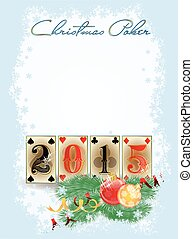 New 2015 year poker cards, vector illustration