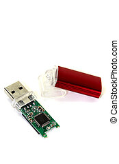 little red USB flash drive - disassembled little red USB...