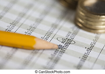 Statistisc and Money - Photography of financial rating,...