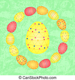 Big colorful easter egg and a wreath of colorful easter eggs