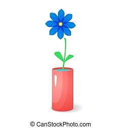 Single flower in vase - Single blue flower in red glossy...