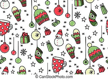 Hand drawn New Year seamless pattern - Doodle New Year...
