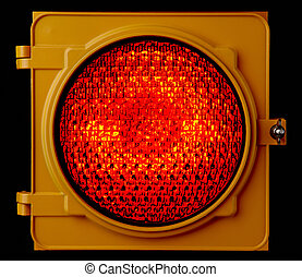 Illuminated Red traffic light - Close up of illuminated red...