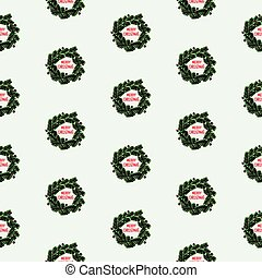 Hand drawn Christmas seamless pattern with wreath