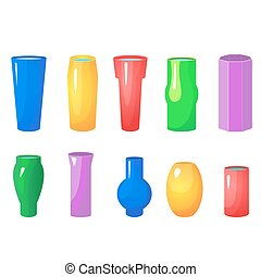 Colorful flowers vases vector set