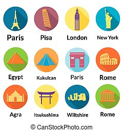 World landmarks, round flat icons with long shadows