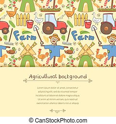 Vector illustration farm elements in doodle style - Vector...
