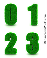 Digits 0, 1, 2, 3 of 3d Green Grass - Set. - Digits 0, 1, 2,...