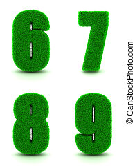 Digits 6, 7, 8, 9 of 3d Green Grass - Set. - Digits 6, 7, 8,...