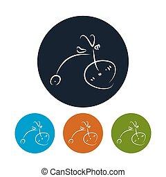 ベクトル, 自転車, イラスト, アイコン