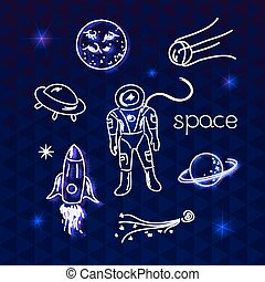 Space vector objects - Space vector white objects line...