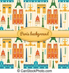 Landmarks of France colorful seamless pattern - Landmarks of...
