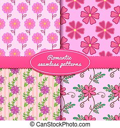 Four vector seamless romantic patterns