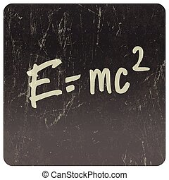 E=mc2 Theory of relativity, writings on blackboard Vector -...