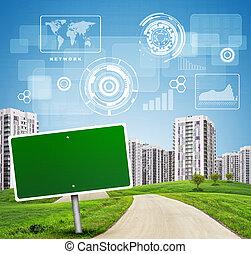 Blank green billboard by road running