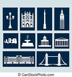 Landmarks of United Kingdom, vector flat icon set