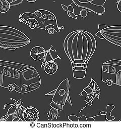 Sketches means of transport, boys vector seamless pattern -...