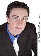 Close up of a young businessman - white background
