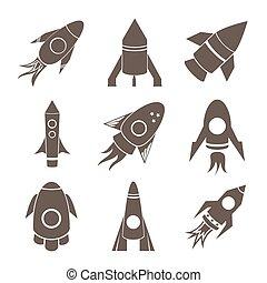 vetorial, foguetes, ícones, jogo, ligado, branca,...