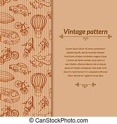 Sketches means of transport, vintage vector illustration...