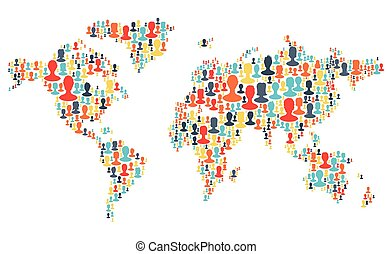 Group of colorful people silhouettes making a earth planet shape