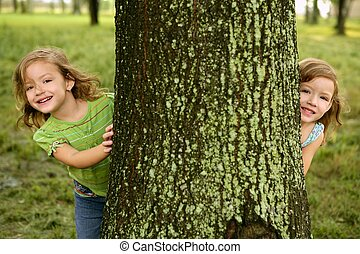 Two twin little girls playing in tree trunk - Two twin...