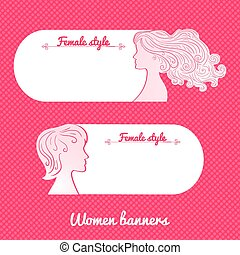 Two beautiful female romantic vector banner