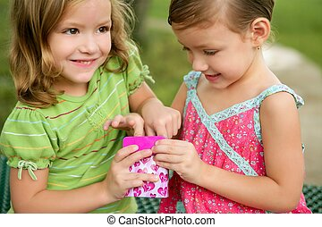 Two little twin sisters playing with pink box