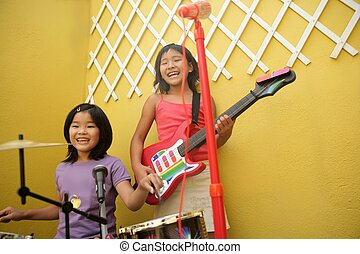 live concert at home two little girls playing - live rock...