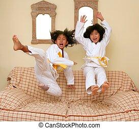 dos, poco, asiático, Judo, niñas, salto,...