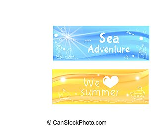 Vector simple sea beach banners