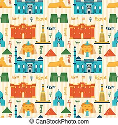 Landmarks of Egypt seamless pattern - Landmarks of Egypt...