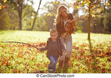 男孩, 很少, 玩, 一起, 母親