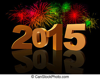 golden new year 2015 with reflection and colorful fireworks