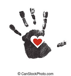 Handprint with red heart symbol. Vector
