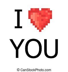 5 color pixel heart. Vector
