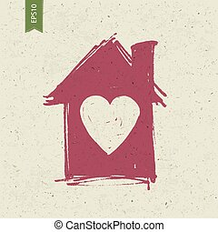 House sign with heart on paper texture. Vector, EPS10